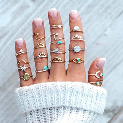 Vakkery Juego de anillos de nudillos bohemios turquesa y oro y plata para nudillos articulados y lunas, apilables para mujeres y niñas