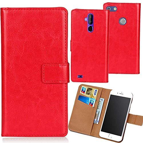Dingshengk Rot Premium PU Leder Tasche Schutz Hülle Handy Case Wallet Cover Etui Ledertasche Für Vernee Thor 5