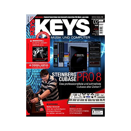 Keys 2 2015 mit DVD - Steinberg Cubase Pro 8 - Ueberschall Elastik Library auf DVD - Personal Samples - Free Loops - Audiobeispiele