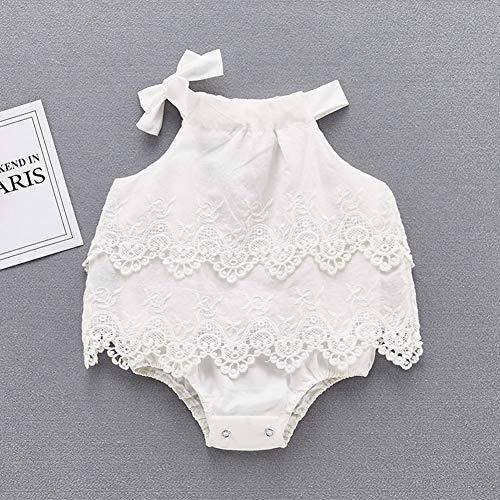 Pasgeboren Baby Meisjes Cotton Bodysuit Lace Romper zonder mouwen Jumpsuit Sweet Color Solid Feestkleding
