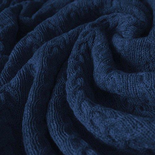 Lorenzo Cana Alpakadecke aus 100prozent Alpaka - Wolle vom Baby - Alpaka Fair Trade Decke Wohndecke gestrickt Sofadecke Tagesdecke Kuscheldecke dunkelblau 96245