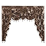 """NAPEARL European Style Luxury Waterfall Valance Living Room Window Decoration (1 Valance 61""""Wx49""""L, Brown)"""