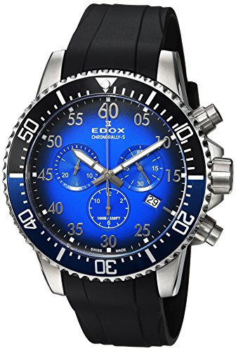 Edox Herren Chronograph Quarz Uhr mit Gummi Armband 10227-3NBUCA-BUBN