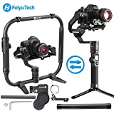 FeiyuTech AK4000 3-Axes Gimbal Stabilisateur Payload 4 KG Compatible with Mirrorless & DSLR Camera Sony Canon Panasonic Nikon Free Follow Focus Carbon Fiber Extension Bar and Dual Handle