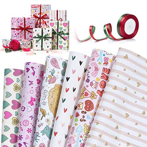 Wodasi Papel Para Envolver Regalos, Papel de regalo con Diseño de Corazones, 6 Hojas Papel de Regalo + 2 Rollo de Cinta, Papel de Regalo de San Valentín, Papel Regalo para Cumpleaños(70 x 50cm)
