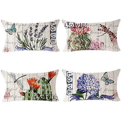 Bnitoam Set of 4 Art Potted Succulents Cactus Flowers Butterfly Dragonfly Cotton Linen Lumbar Decorative Throw Pillow Covers Case Cushion Cover For Bed Couch Outdoor Family Office Sofa 12X20 inch (M1)