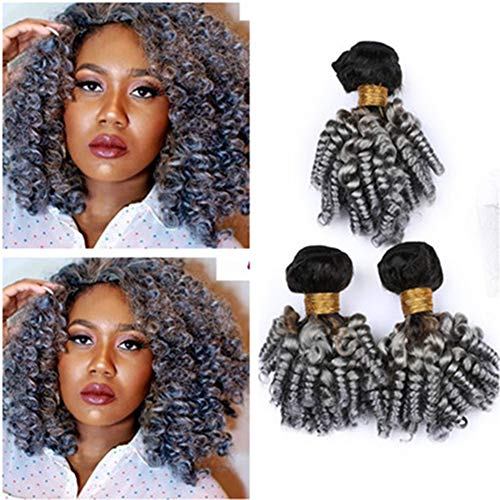 Tony Beauty Hair Virgin Peruvian Human Hair Silver Grey Ombre Aunty Funmi Bundles Deals Dark Root 3Pcs Lot #1B/Grey Ombre Sprial Curly Virgin Hair Weaves Extensions 10-30' (26 26 26)