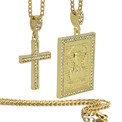 "L & L Nation 14K Gold Tone St Steel Chain 24""/30"" Malverde & Cross Hip Hop Pendants Bundle Set 56/8"