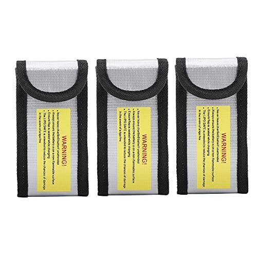 Bolsa a Prueba de Fuego 3 piezas, Meirrai Battery Safe Bag, Prueba de Explosiones, Bolsa de Protección de Batería Impermeable para Carga y Almacenamiento