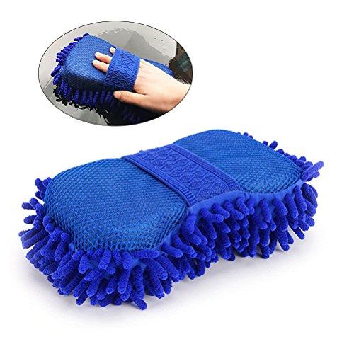 VORCOOL Brosse Nettoyage Voiture Ultrafine Eponge Lavage Chenille(Bleu Royal)