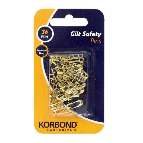 Korbond Imperdibles de Seguridad Dorado (36). para unir y Cerrar, y para usarlos en Prendas de Ropa, Manualidades y en el hogar en General