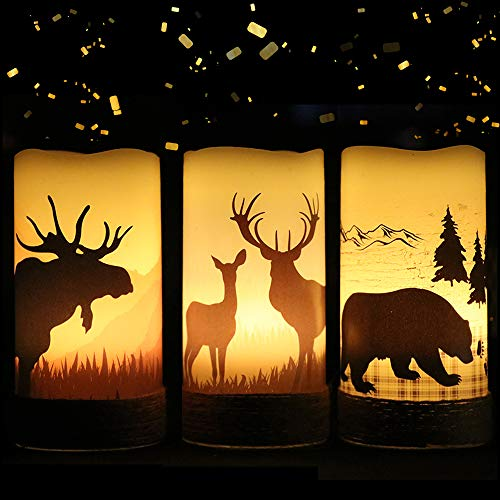 Eldnacele Flameless Flickering Led Candles with Hemp Rope and 6H Timer, Battery Operated Set of 3 Real Wax Pillar Candles Warm Light with Elk, Moose, Bear Decals Rustic Decor Christmas Home(D3' x H6')