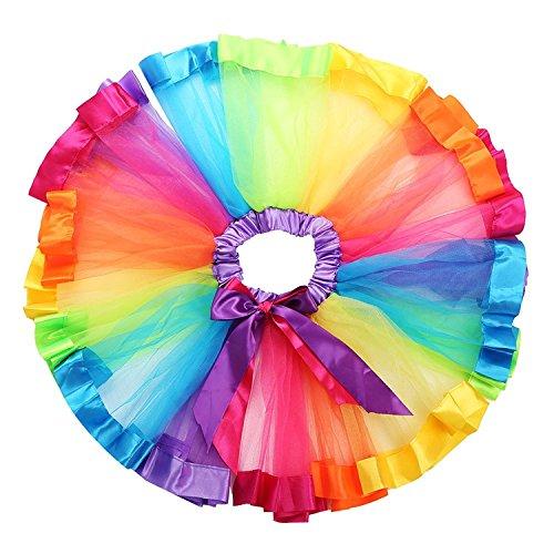 traderplus Little Girls Layered Rainbow Ribbon Tutu Skirt Dress Ballet Tiered (Medium 4-6 Years)