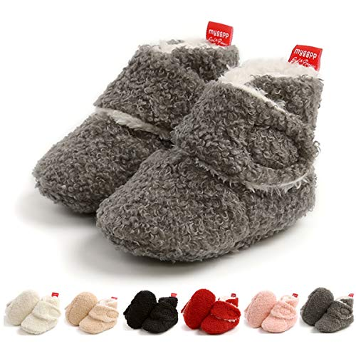 Infant Baby Slippers Boys Girls Cozy Fleece Booties Soft Sole Winter Baby Sock Shoes Newborn Crib Shoes First Walkers Warm Footwear