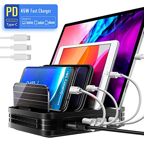 MixMart Handy Ladestation für mehrere Geräte PD 45W USB Ladestation mehrfach QC 3.0 Fast Charger USB Multi Ladegerät für Handy Tablets, 4 Ports mit 3 Kurze Kabel