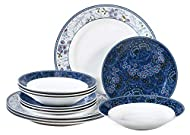 """Unique mix and match floral design. 4x Dinner plate 10.5"""", 4x soup plate 8"""", 4x side plate 7.5"""" Made from porcelain Dishwasher, oven and microwave safe"""