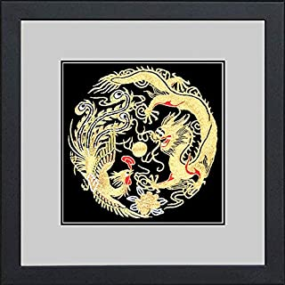 King Silk Art 100% Handmade Embroidery Framed Golden Dragon & Phoenix Oriental Wall Hanging Art Asian Decoration Tapestry Artwork Picture Gifts 34013WFB1