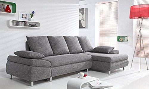 Canapé d'angle 4 places Gris Tissu