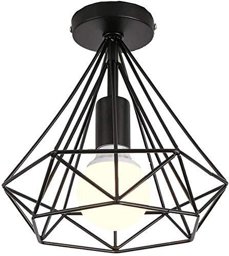 Topdécoré Plafoniera Lampadario,Retro Lampada Industriale lampadario in metallo nero gabbia ferro,Lampada a Sospensione per corridoio,portico,camera da letto,ecc(lampadina E27 non inclusa,20 * 23CM)