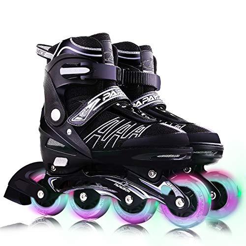 VOMI Verstellbar Inline-Skates mit 8 Blinkende Räder Kinder/Erwachsene Sporting Inline Schuhe Einstellbare 4 Größe Inlineskates Aluminiumlegierung Halterung ABEC-7 Stumm Lager (Medium 33-36,Black)