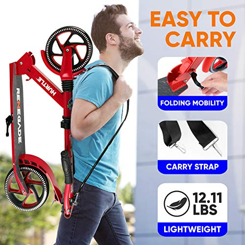"""Scooter – Scooter for Teenager – Kick Scooter – 2 Wheel Scooter with Adjustable T-Bar Handlebar – Folding Adult Kick Scooter with Alloy Anti-Slip Deck – Scooter with 8"""" Smooth Gliding Wheels by Hurtle"""