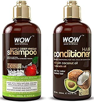 WOW Apple Cider Vinegar Shampoo and Hair Conditioner Set Increase Gloss Hydration Shine Reduce Itchy Scalp Dandruff & Frizz No Parabens or Sulfates All Hair Types 2 x 16.9 Fl Oz 500mL