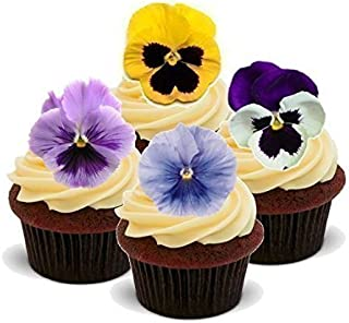 Baking Bling Novelty Spring Pansies Flower Mix Easter - Standups 12 Edible Standup Premium Wafer Cake Toppers - 2 x A5 Sheet - 12 Images