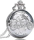 BEISUOSIBYW Co.,Ltd Collar Reloj de Bolsillo de Plata de Cuarzo Colgante Antiguo Bolso de Cadena Reloj Motor Cyclemotor Bicicleta para Hombres y Mujeres