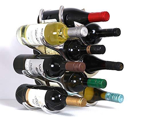 Botellero para 9 botellas de vino, de aluminio pulido, independiente, moderno, 0019