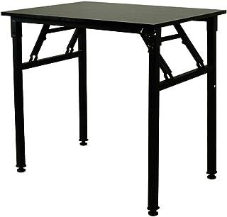 折りたたみデスク 机 ベーシックテーブル 組み立て不要 パソコンデスク ダイニングテーブル 幅80cm×奥行56cm×高さ73.5cm コンパクト リビングテーブル RS-PDK50 (ブラック)