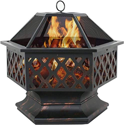 JISHIYU Outdoor 24 inch Hex Shaped Fire Pit Wood Burning w/Flame Retardant Mesh Lid Fireplace Patio Backyard Steel Firepit Bowl Heater