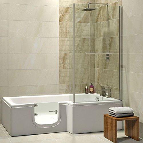 Senioren Badewanne mit Tür LARNA 170x85 cm komplett mit Duschaufsatz und Schürze