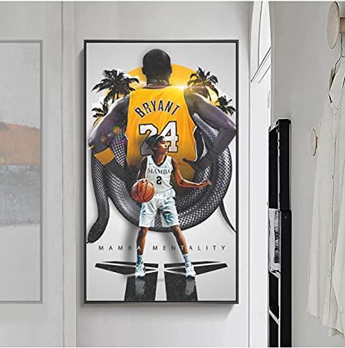Weiqiaolian Lienzo de Gigi para pared, impresión artística, arte de la NBA Baloncesto Lakers para decoración de sala o dormitorio (60 x 100 cm), sin marco