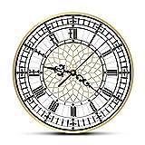 hufeng Reloj de Pared Reloj Big Ben Reloj de Pared Moderno contemporáneo Reloj de Pared Retro silencioso sin tictac Decoración del hogar en inglés Gran Bretaña Londres Regalo