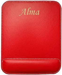Almohadilla de cuero sintético de ratón personalizado con el texto: Alma (nombre de pila/apellido/apodo)