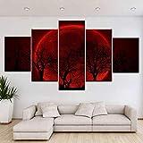 TXTYUMR 5 Piezas de árboles Impresos más Grande Luna roja Lienzo Pintura Carteles de Pared para la decoración de la Sala de Estar del hogar | 30x40x2 30x60x2 30x80cm sin Marco