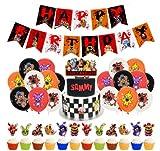 Five Nights at Freddy's Birthday Supplies - Miotlsy 34pcs Freddy Happy Birthday Supplies, Banner de Feliz Cumpleaños and Cupcakes, Globos de Látex para Cumpleaños