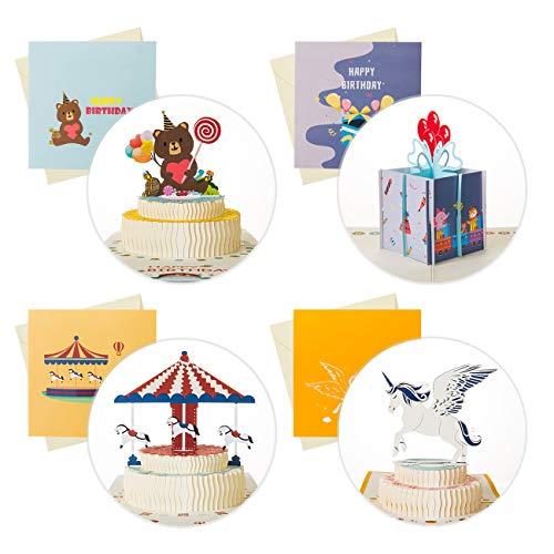 Kesote Tarjetas de Felicitación 3D Tarjetas de Cumpleaños con 4 Modelos Tarta de Cumpleaños, con Sobres y Pegatinas