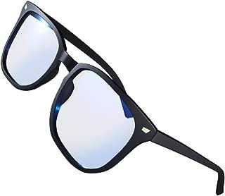 Luxis ブルーライトカット メガネ ウェリントンタイプ UV400 ずれ落ち防止 ハードケース付き