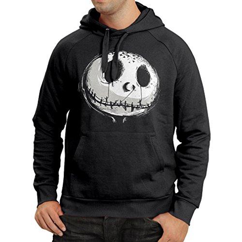 lepni.me Sudadera con Capucha cráneo asustadizo Cara - Pesadilla - Ropa de Fiesta de Halloween (Large Negro Multicolor)