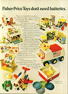 Fisher-Price toys don't need batteries ad 1971 Family Farm Airliner Garage ATV