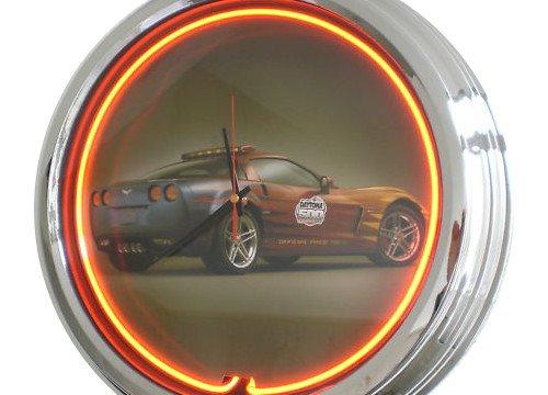 Neon Uhr Daytona Pace Car Corvette Wanduhr Deko-Uhr Leuchtuhr USA 50's Style Retro Uhr Neonuhr