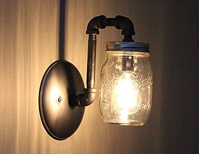 Industrial Rustic Mason Jar Wall Sconce Light Fixture