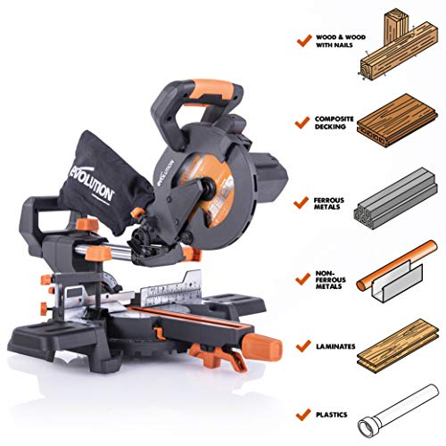 Evolution Power Tools R185SMS+ 7-1/4' Multi-Material Compound Sliding Miter Saw Plus