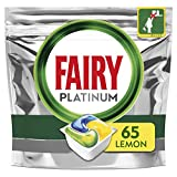 Image of Fairy Platinum All in One Dishwasher Tablets, Lemon, 65 Tablets, For tough Challenges, Even Cleans Greasy Filters