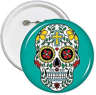 DIYthinker Cirrus Crâne Fleur Croix-Mexique Culture Illustration ronde Pins Badge Bouton Décoration Vêtements cadeau 5pcs ...