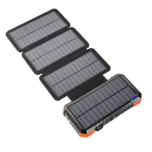 LIUDOU Banco De Energía Solar 26800Mah con 3 Paneles Solares, Cargador Rápido Al Aire Libre Batería Externa Construida Camping Light para Portátil/Cargo Telefónico