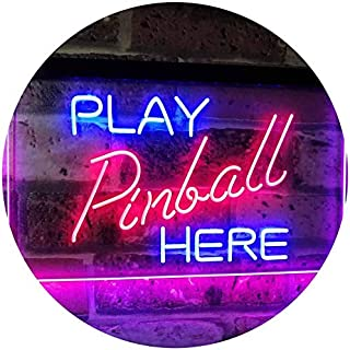 Pinball Room Play Here Display Game Man Cave Décor Dual Color LED Neon Sign Blue & Red 400 x 300mm st6s43-i2619-br