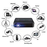 ポータブルミニプロジェクタームービープロジェクター、Bluetooth WiFi HDプロジェクター、サポート4K、WVGA(800X480)、タッチスマート、自動キーストーン補正、LEDスマートワイ
