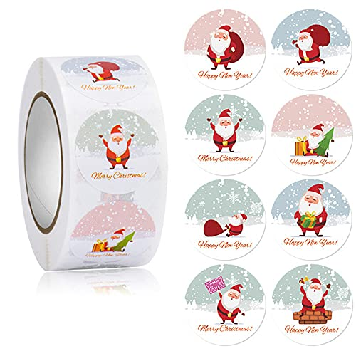 Weihnachtsaufkleber 1 Rolle 500 Beiträge Weihnachtsmann Glückliche Gesichter Weihnachten Kinder Aufkleber Abziehbilder für Spielzeug Geschenke Basteln Dekoration Feiertagsdekorationen